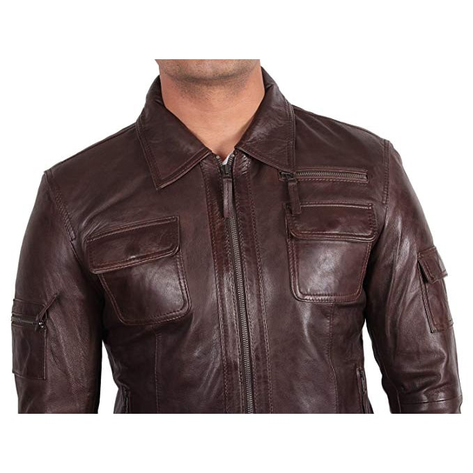 distressed brown leather motorcycle jacket mens