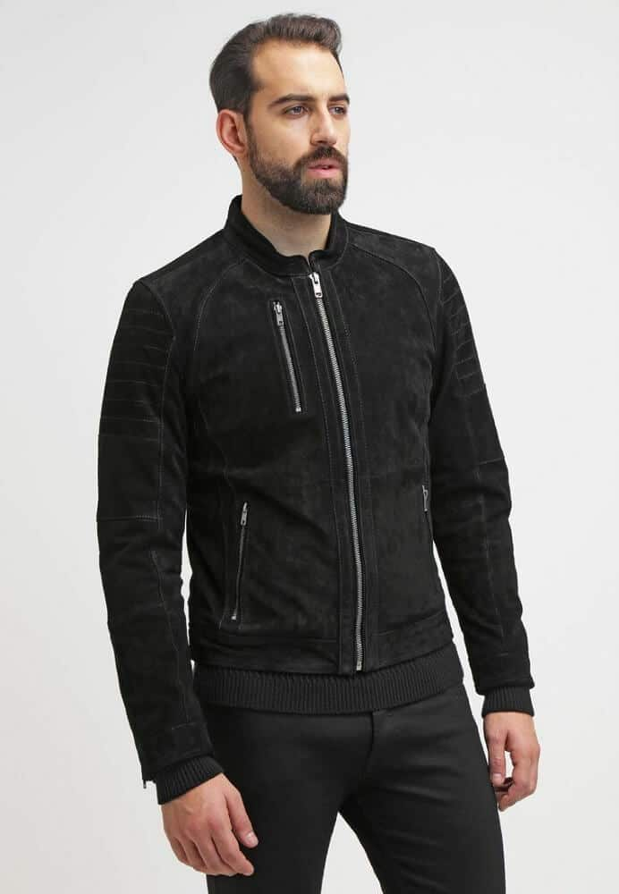 mens black suede jacket