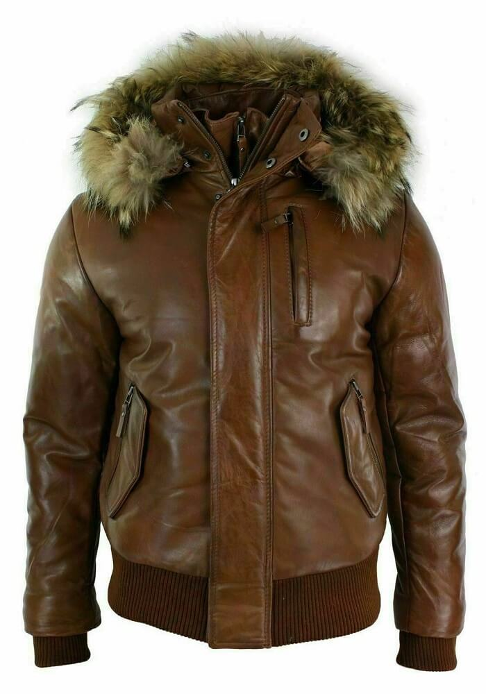 bomber jacket with fur hood front size
