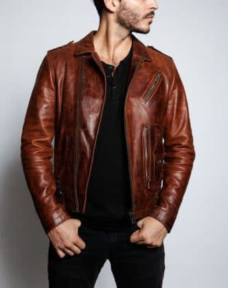 dark brown moto jacket