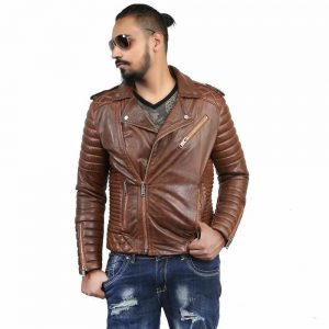 brown double rider jacket