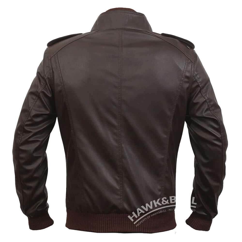 mens brown faux leather bomber jacket back side