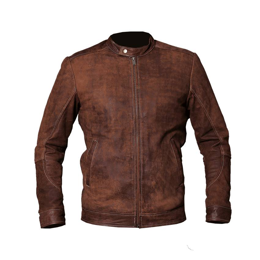 light brown leather jacket front side