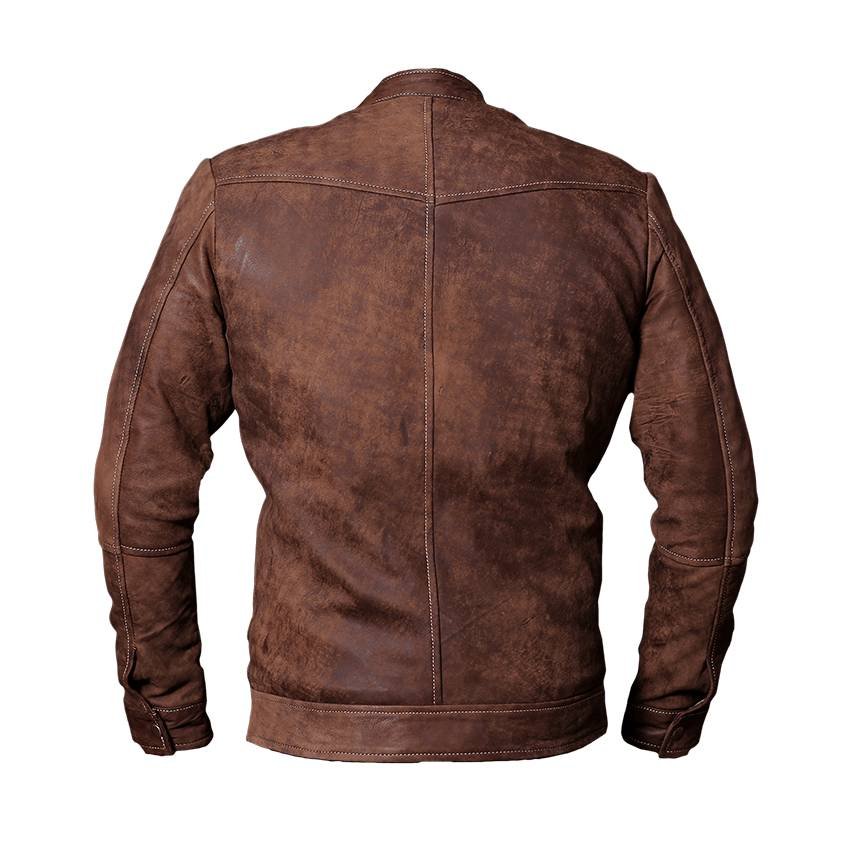 light brown leather jacket back side