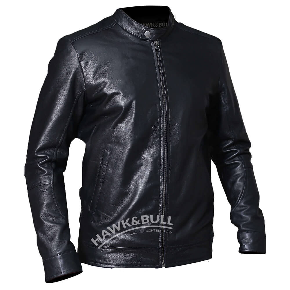 black mens riding jacket left side