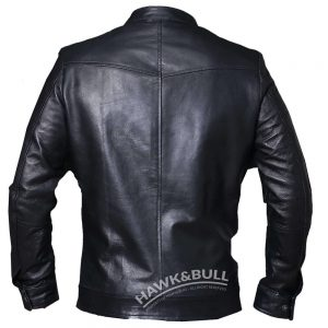 black mens riding jacket back side
