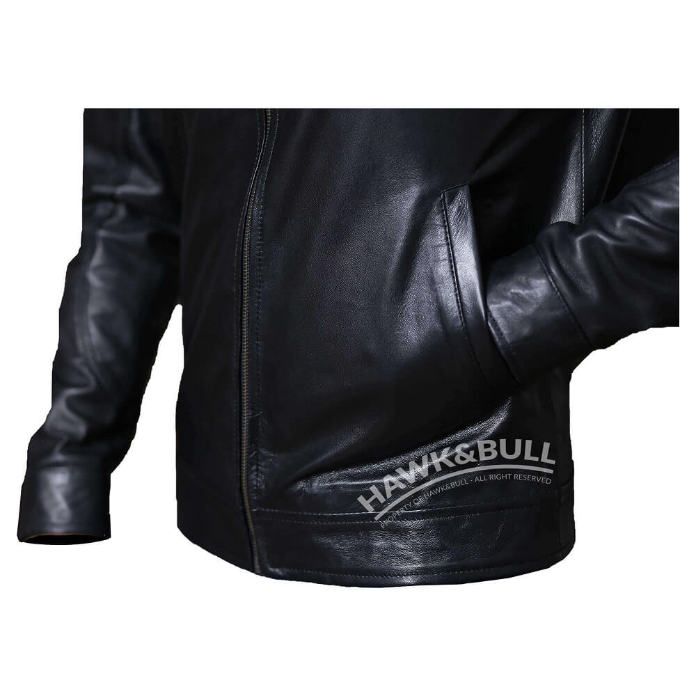 black mens riding jacket