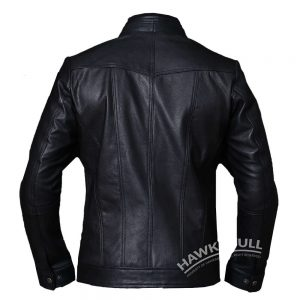 mens vintage black leather jacket