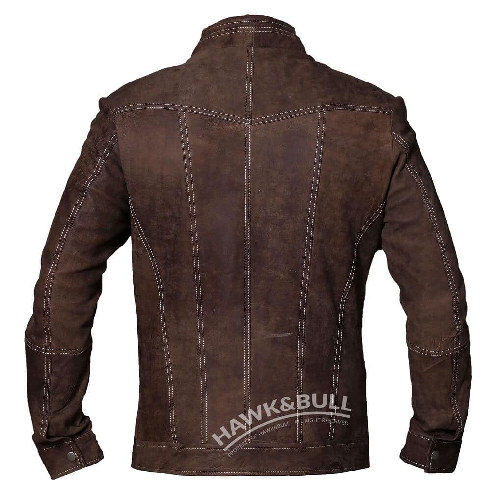 mens vintage brown leather jacket back side