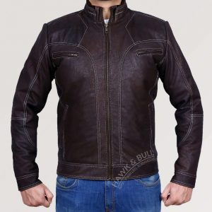 dark brown leather jacket vintage front