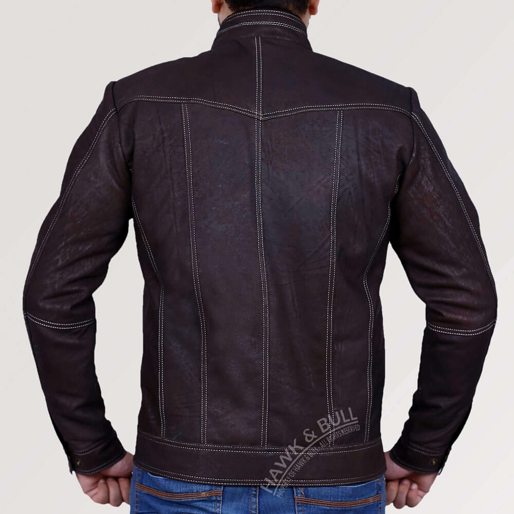 dark brown leather jacket vintage back side
