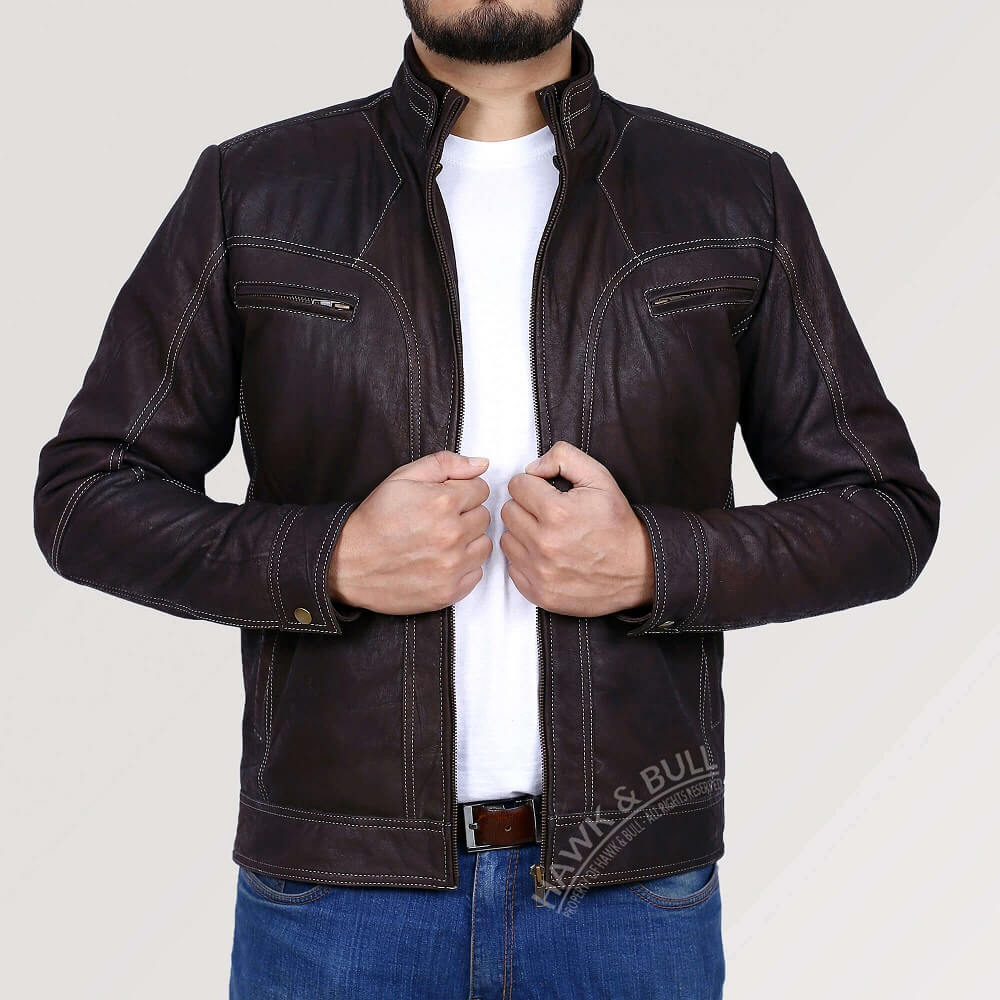 dark brown leather jacket vintage