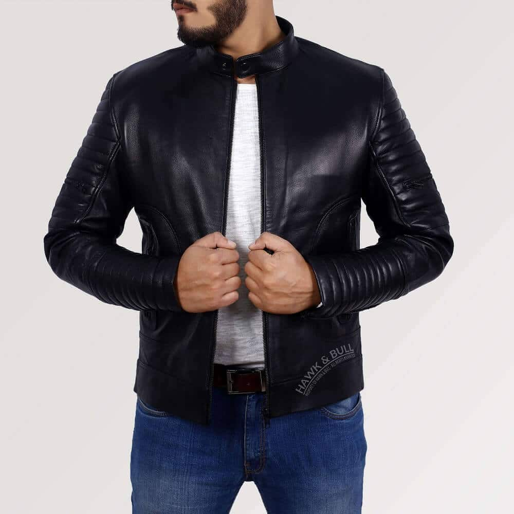mens black leather riding jacket right side