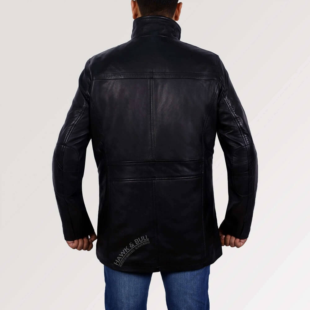 black leather coat back side