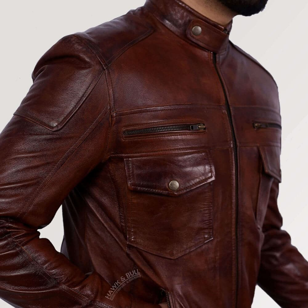 dark brown leather jacket mens left side