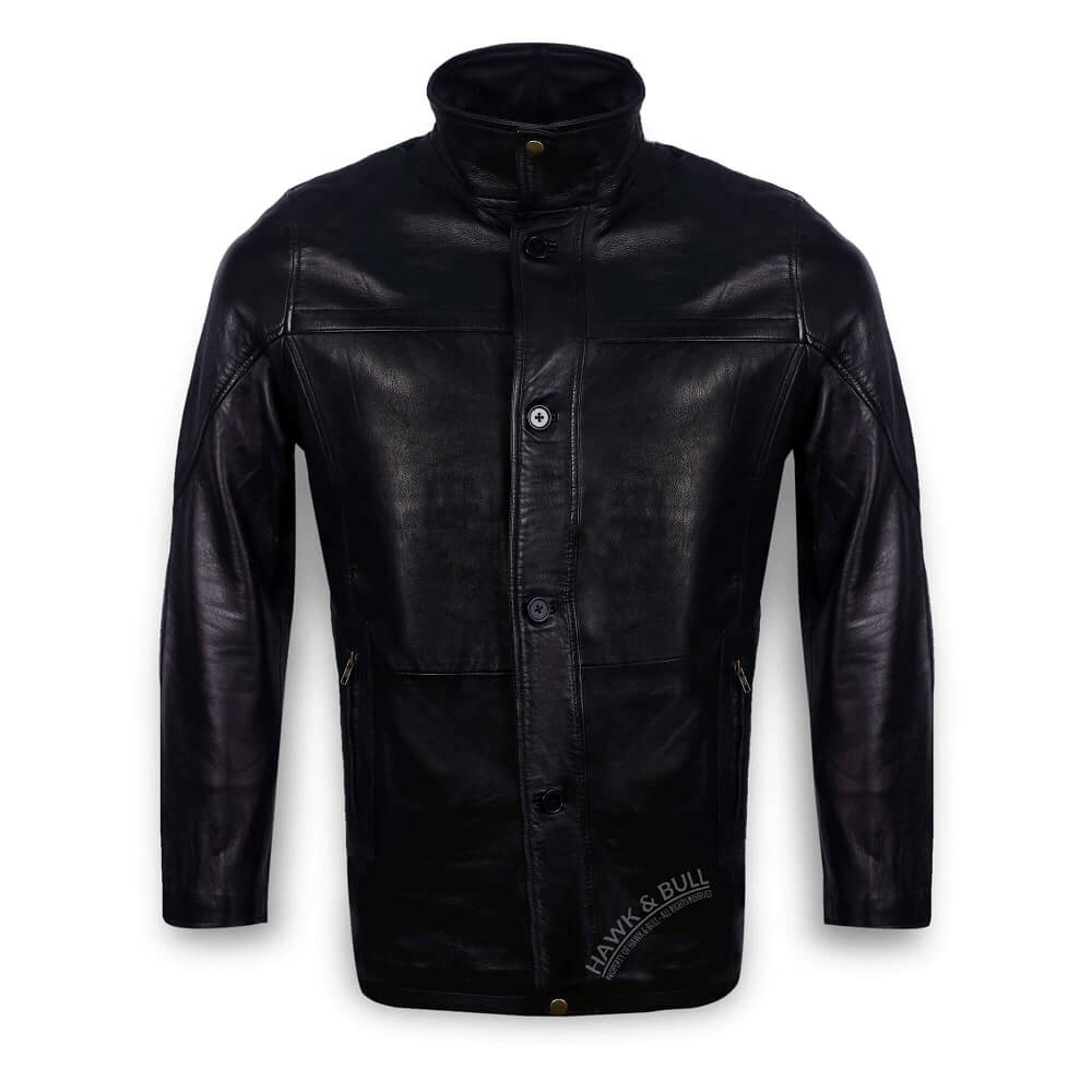 black leather coat mens