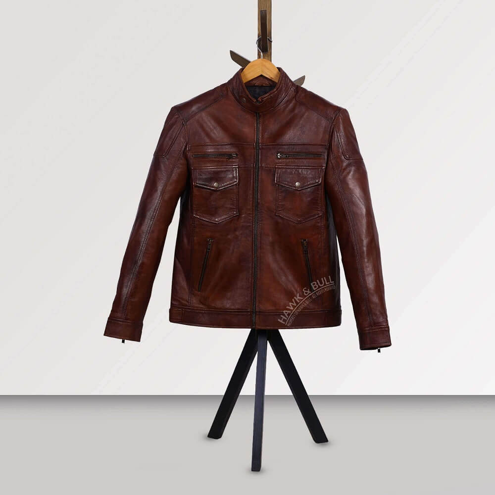dark brown leather jacket mens