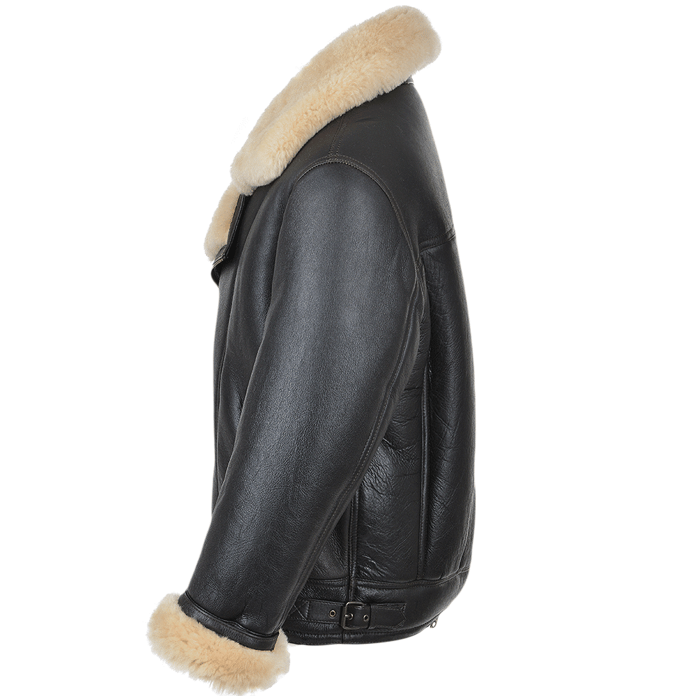 b3 shearling bomber jacket right side