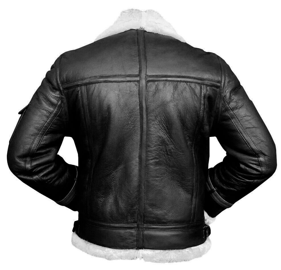 black and white bomber jacket back side