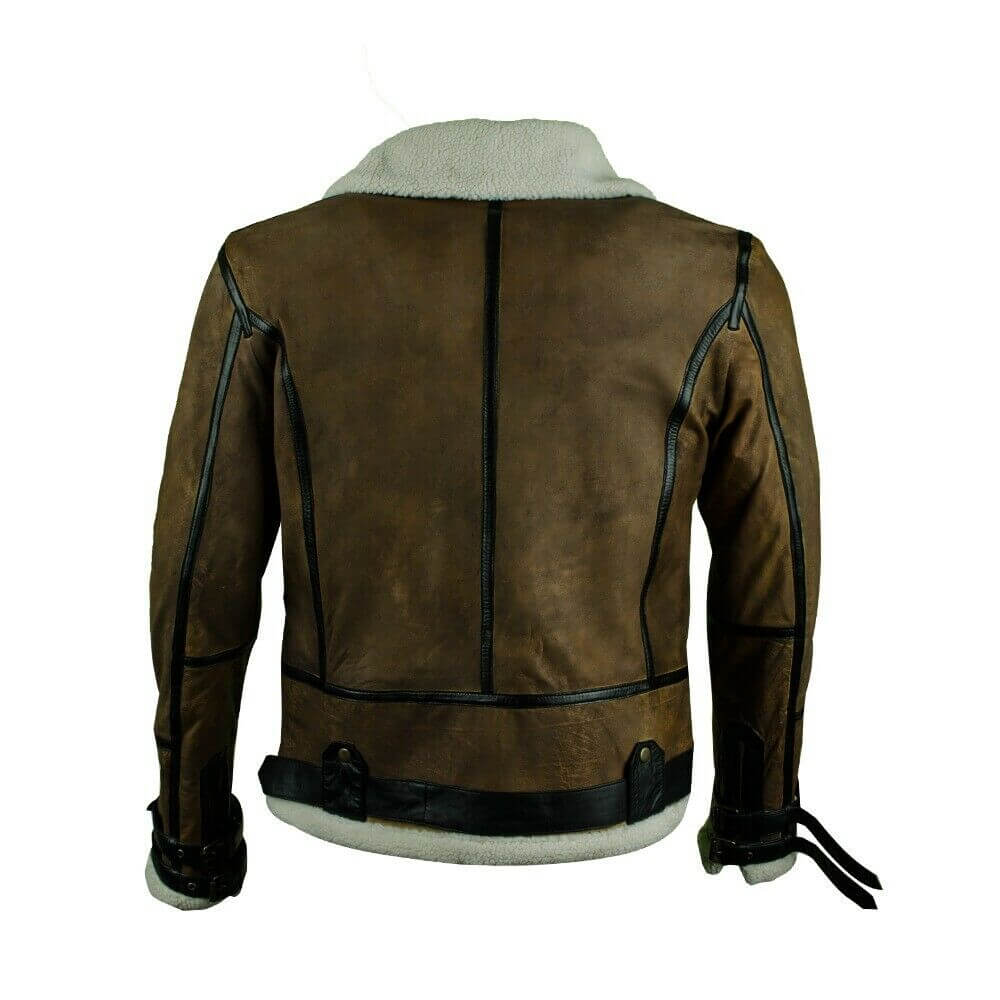 dark brown bomber jacket back side