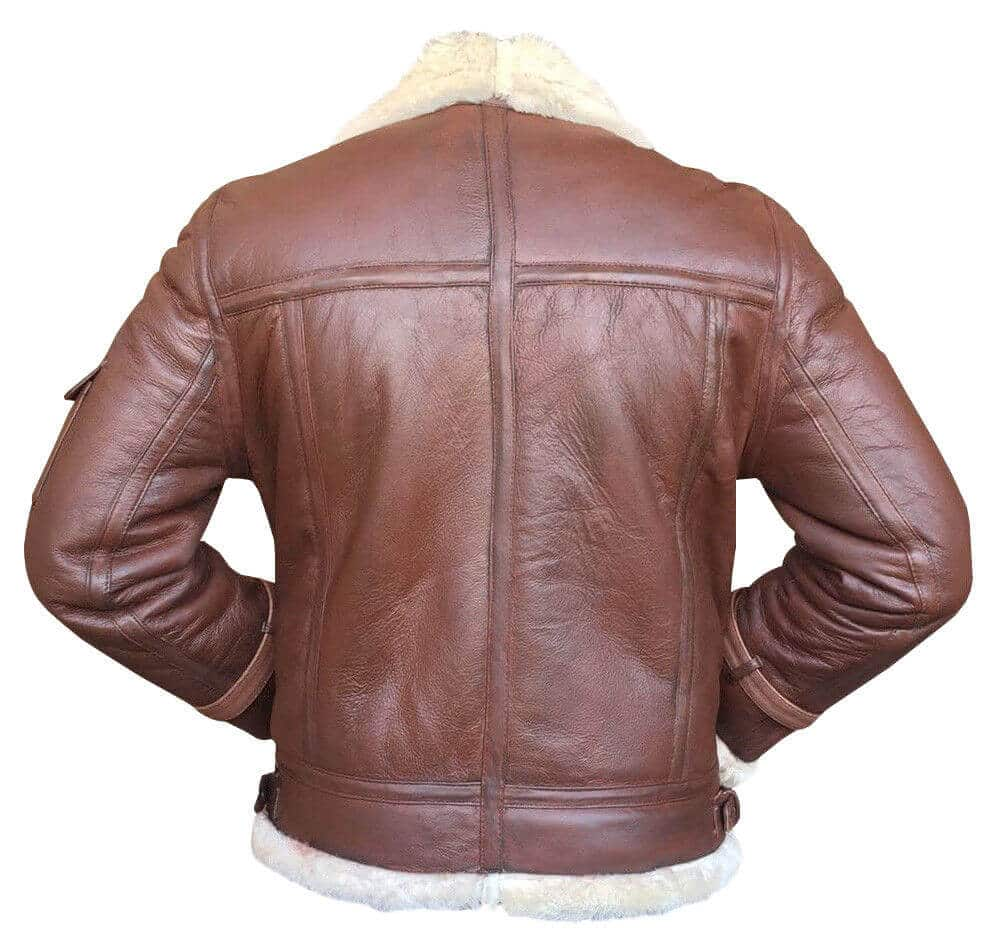 light brown bomber jacket back side