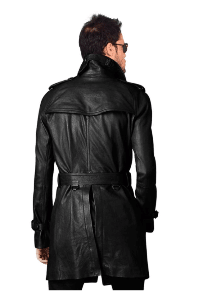 long belted coat back side
