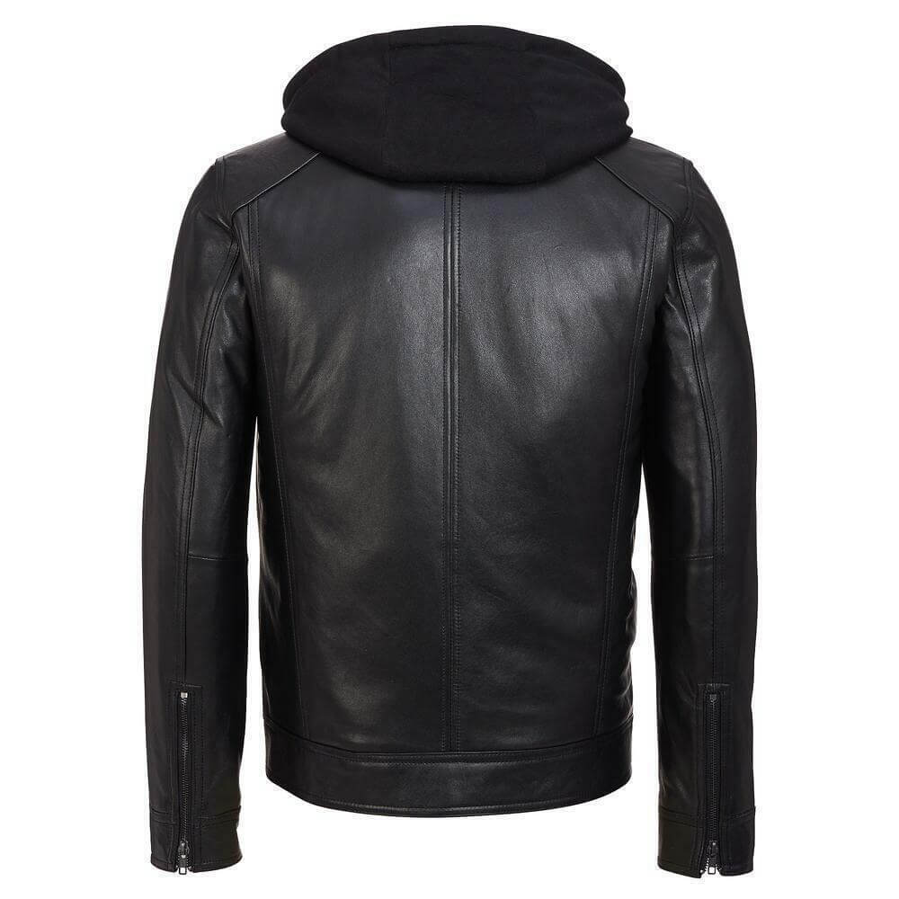 leather jacket with removable hood back side