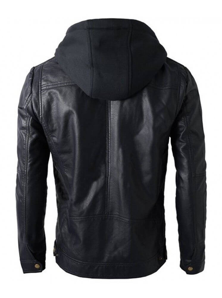 mens black hooded jacket back side