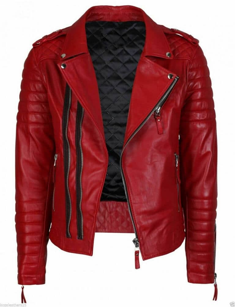 mens red leather biker jacket