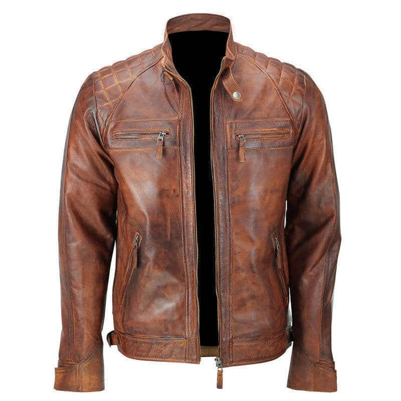 tan leath back sier motorcycle jacket