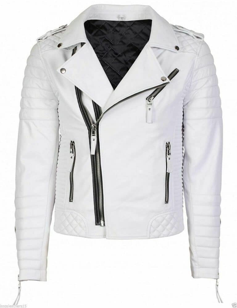 white leather biker jacket mens