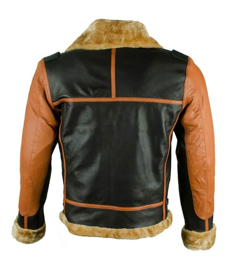 brown and black bomber jacket back side