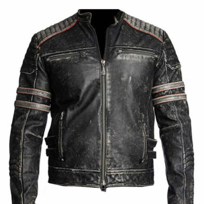 mens antique black vintage retro distressed biker leather jacket