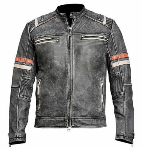 mens vintage cafe racer retro distressed leather jacket