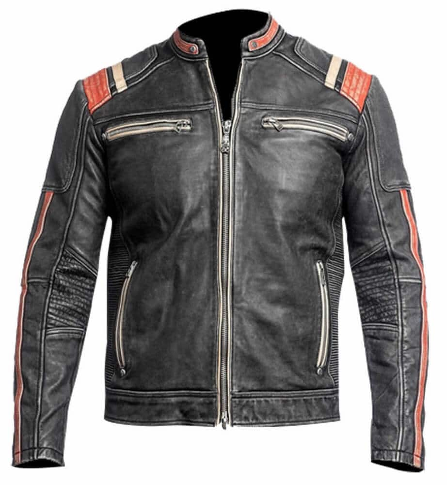 black leather cafe racer jacket