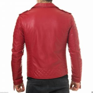 red leather biker jacket back side