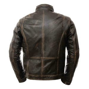 mens brown distressed leather jacket back side