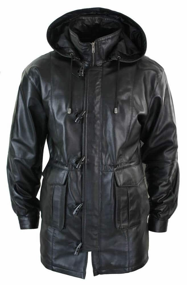 mens black coat with hood front side