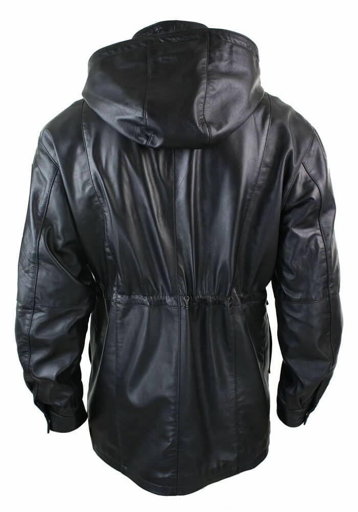 mens black coat with hood back side