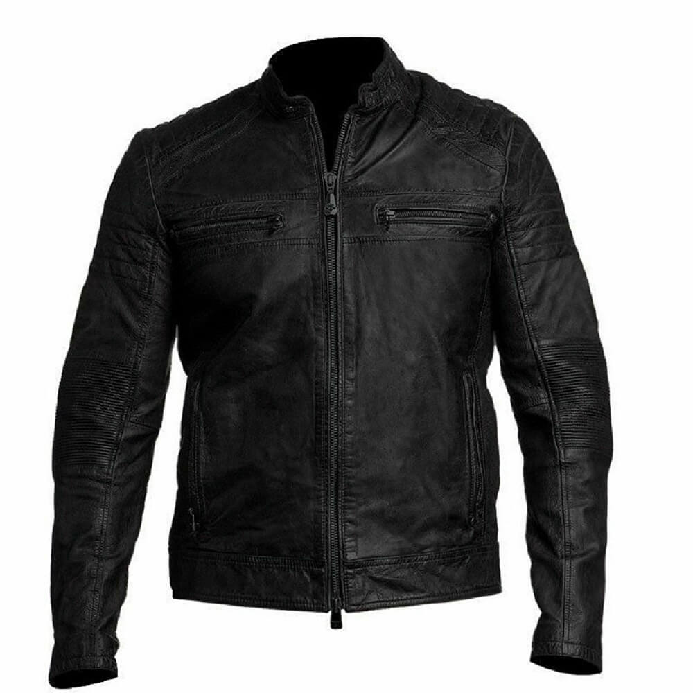 mens distressed black leather biker jacket
