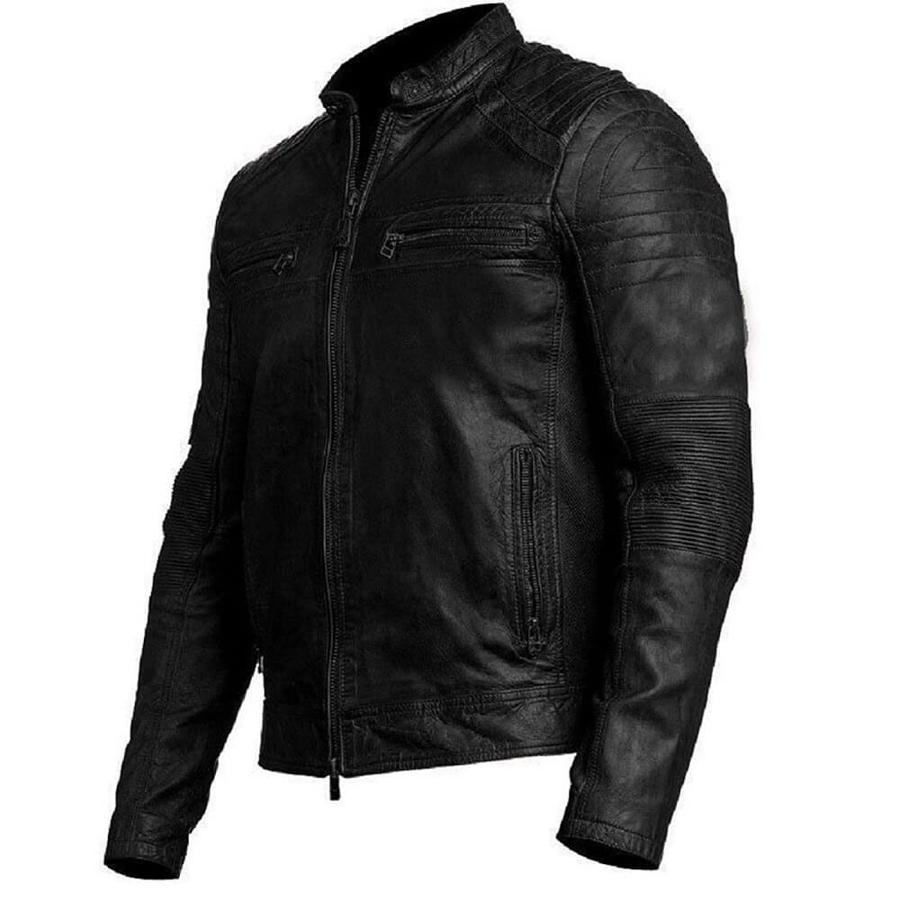mens distressed black leather biker jacket right side