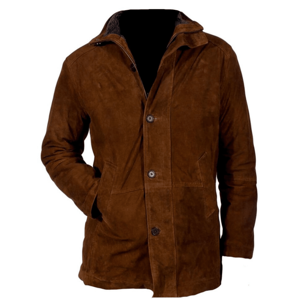 Sheriff suede long coat front